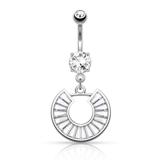 CZ Horseshoe Dangle Surgical Steel Belly Button Navel Rings