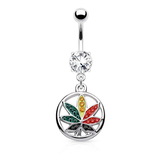 Pot Leaf CZ Dangle Navel Belly Button Ring