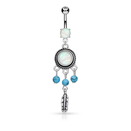Opal Turquoise Beads Dream Catcher Dangle Belly Button Navel Rings