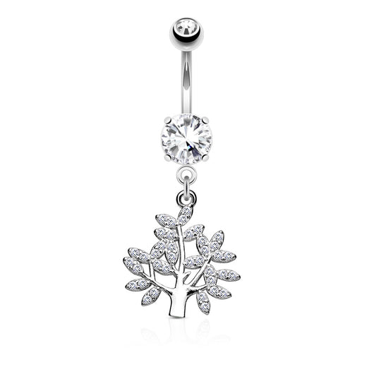 Life Tree CZ Dangle Belly Button Navel Rings