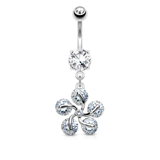 5 CZ Petals Flower Dangle Belly Button Navel Rings