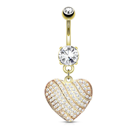 Cz Paved Heart Dangle Belly Button Navel Rings