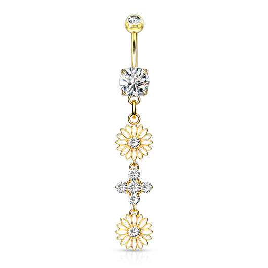 Enamel Flower CZ Dangle 14kt Gold Plated Navel Belly Button Ring