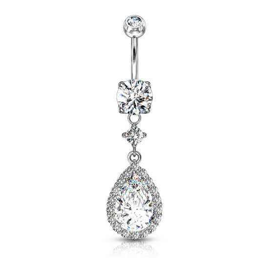 Round CZ Prong Set Large Tear CZ Shape Dangle 14kt Gold Plated Navel Belly Button Ring