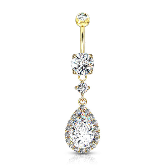 Large Tear CZ Shape Dangle 14kt Gold Plated Navel Belly Button Ring