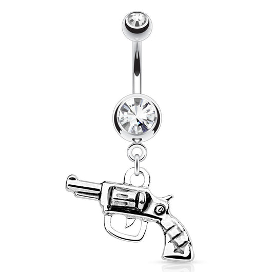 Gun Dangle Clear Gem Top Surgical Steel Navel Belly Button Ring