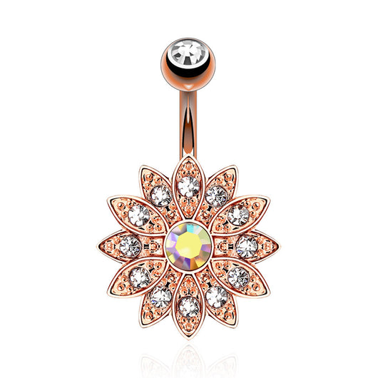 CZ Flower 14kt Rose Gold Plated Navel Belly Button Ring