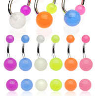 20 Pc Value Pack 6 Colors Of Glow In Dark Ball Navel Belly Button Rings