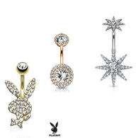 3 Pc Hot Seller 14K Gold And Surgical Steel CZ Playboy Navel Belly Button Rings