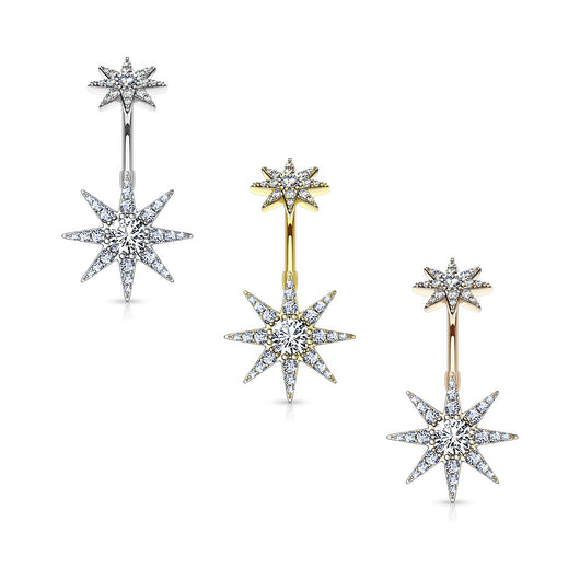 CZ Starburst with Internally Threaded CZ Starburst TopDangle Navel Belly Button Ring