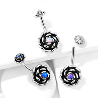 Antique Silver Opal Rose With Internal Threaded Opal Top Belly Button Navel Rings