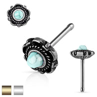 Turquoise Centered Floral Design 316L Surgical Steel Nose Stud Rings