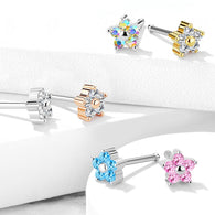 5 CZ Flower Top Surgical Steel Nose Bone Stud Rings