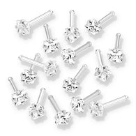 10 Pc Value Pack Prong Set Square  CZ Top Nose Bone Stud Rings.