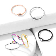 One Side Fixed CZ Ball Twist Rope Titanium Captive Ring Nose Ring Helix Ear Cartilage
