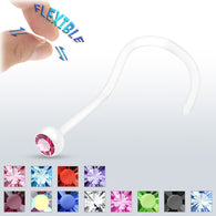 Assorted Color CZ Bezel Set Bio Flex Nose Screws No Metal