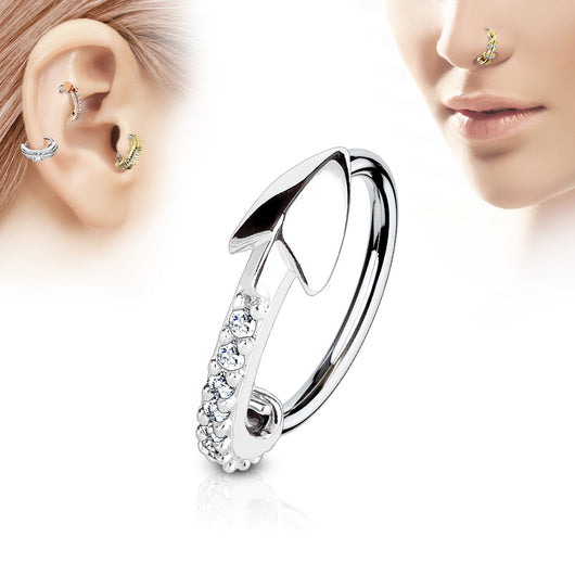 CZ Arrow Ear Cartilage Daith Tragus Helix Earrings Hoop Nose Rings