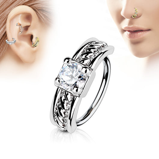 Prong CZ Ear Cartilage Daith Tragus Helix Earrings Hoop Nose Rings