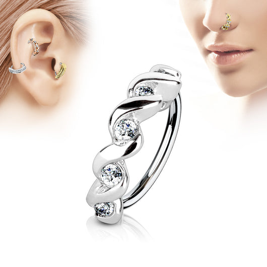 CZ Twisted Ear Cartilage Daith Tragus Helix Earrings Hoop Nose Rings