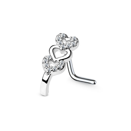 CZ Heart Nose Crawlers L Bend Nose Stud Rings