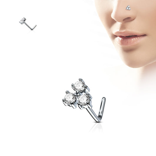 Three CZ Top Surgical Steel L Bend Nose Stud Rings