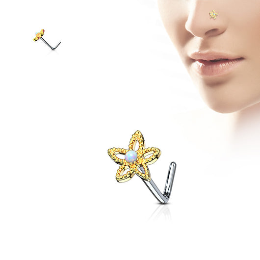 Flower Opal Top Surgical Steel L Bend Nose Stud Rings