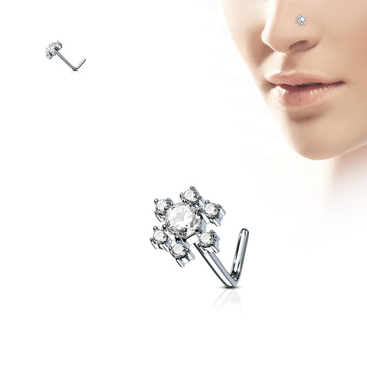 Flower CZ Top Surgical Steel L Bend Nose Stud Rings