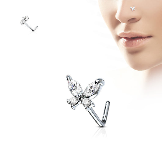 Butterfly CZ Top Surgical Steel L Bend Nose Stud Rings