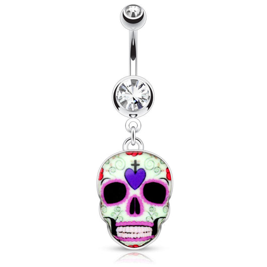 Purple Sugar Skull Surgical Steel Dangle Navel Belly Button Ring