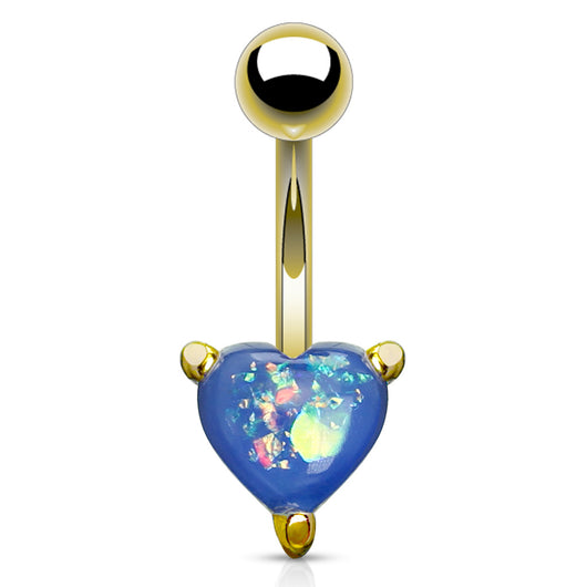 Opal Glitter Heart Gold IP Surgical Steel Belly Button Navel Rings
