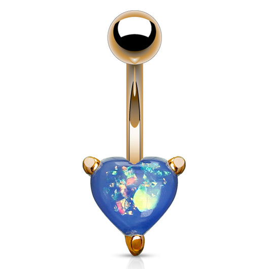 Opal Glitter Heart Rose Gold IP Belly Button Navel Rings