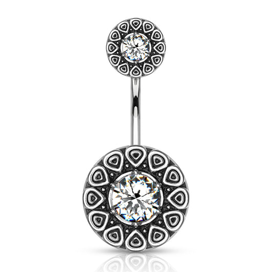 CZ Center Tribal Style 316L Surgical Steel Navel Belly Button Ring