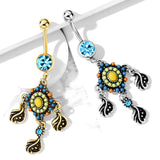 Tribal Beaded Filigree And Crystal Dangle Surgical Steel Navel Belly Button Rings