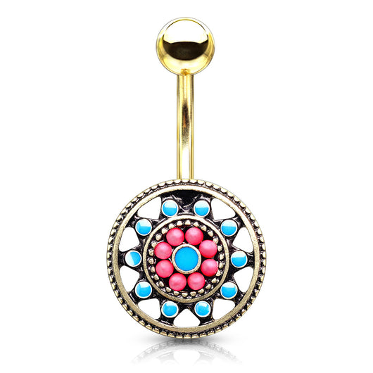 Turquoise Enamel And Beads Aztec Tribal Sun Surgical Steel Navel Belly Button Rings