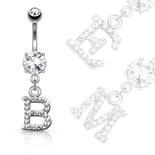 Clear Gem Paved Surgical Steel Initial Dangle Navel Belly Button Ring