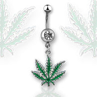 Pot Leaf CZ Dangle 316L Surgical Steel Navel Belly Button Ring