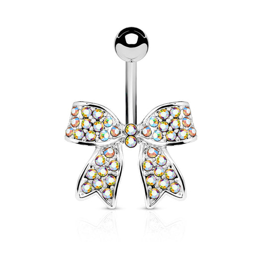 Ribbon CZ Belly Button Navel Rings
