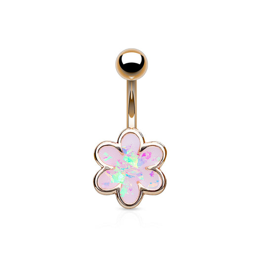 Opal Glitter Filled Flower Belly Button Navel Rings
