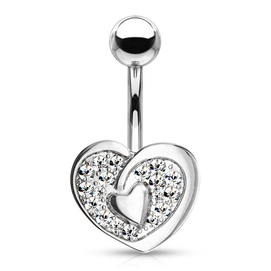 CZ Paved Heart With Heart Center Navel Belly Button Ring