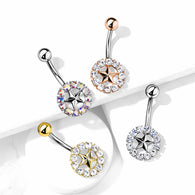 Star With Crystal Surroundings Navel Belly Button Ring