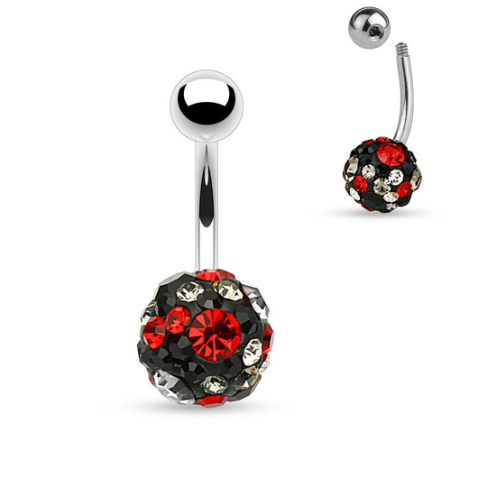 Multi Colors CZ Ferido Ball Surgical Steel Navel Belly Button Rings