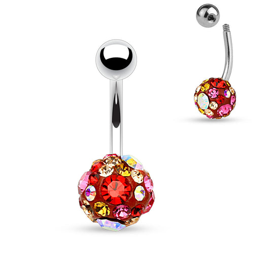 Multi Color Ferido Ball Surgical Steel Navel Belly Button Rings