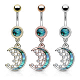 Mother of Pearl Inlay Crescent Moon and CZ Stars Navel Belly Button Ring