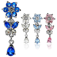 Flower Leaves CZ Top Down Solid Titanium Shaft Navel Belly Button Rings