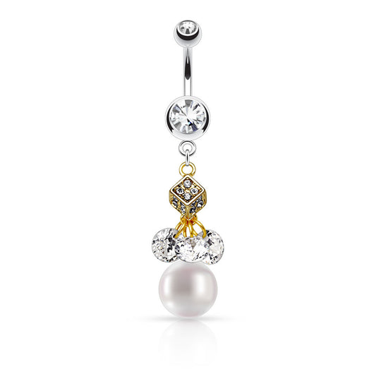 CZ and Pearl Dangle Navel Belly Button Rings