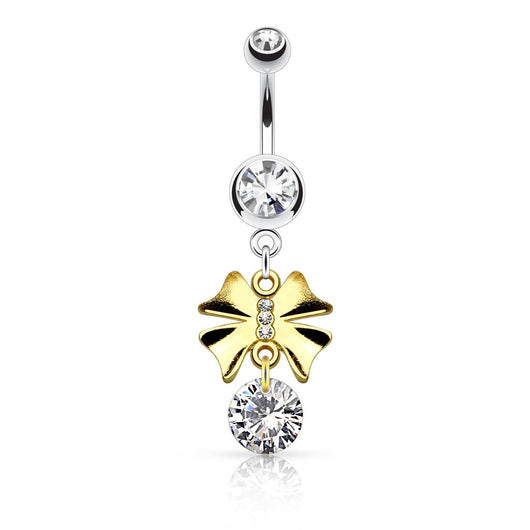 Gold IP Ribbon CZ Dangle Surgical Steel Navel Belly Button Rings