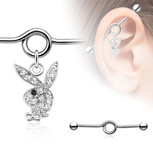 Multi Paved CZ Playboy Bunny Surgical Steel Industrial Barbell