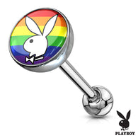 Licensed Gay Pride Playboy Bunny Logo Print Inlay Barbell Tongue Rings