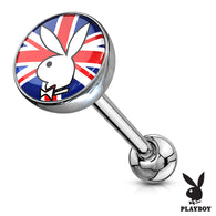 Licensed English Flag Playboy Bunny Logo Print Inlay Barbell Tongue Rings