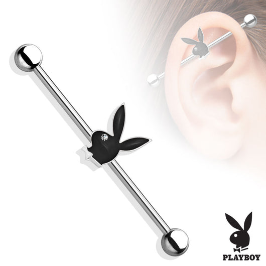 Playboy Bunny with Clear CZ Eye Surgical Steel Industrial Barbells